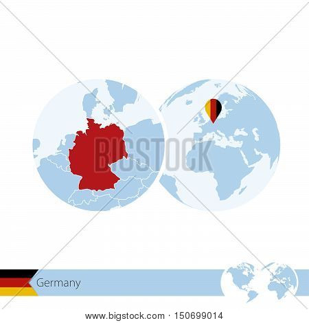 Germany On World Globe With Flag And Regional Map Of Germany.