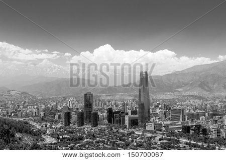 Santiago de Chile, Chile - November 28, 2015: Skyline view of Santiago de Chile in South America in black and white