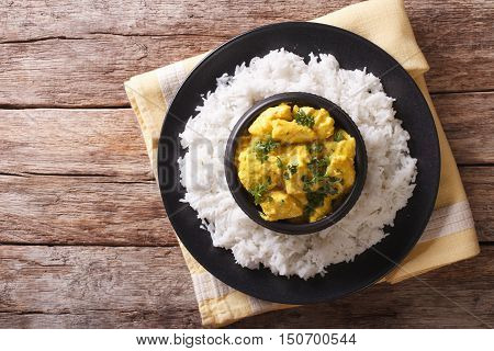 Chicken Korma Of Coconut And Cream Sauce Served In A Rice. Horizontal Top View