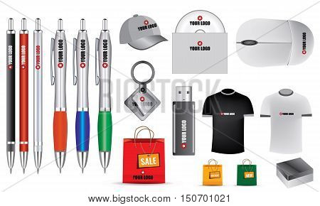 Illustrated promotion isolated vector objects, stationery for your clients