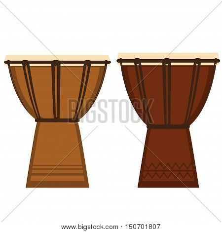 Vector Illustration Of African Djembe Drum. Vector Icon.