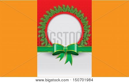 Christmas greeting card with red background and green ribbon banner and with green fir-tree or fir-leaf design template