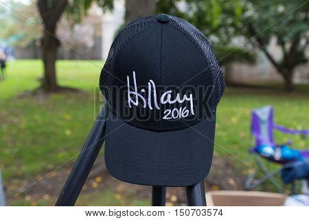 Harrisburg PA - October 4 2016: Hillary 2016 cap on display and for sale at Hillary Clinton campaign event.