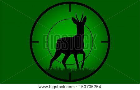 Illustrated Deer buck on full moon badge target on focus