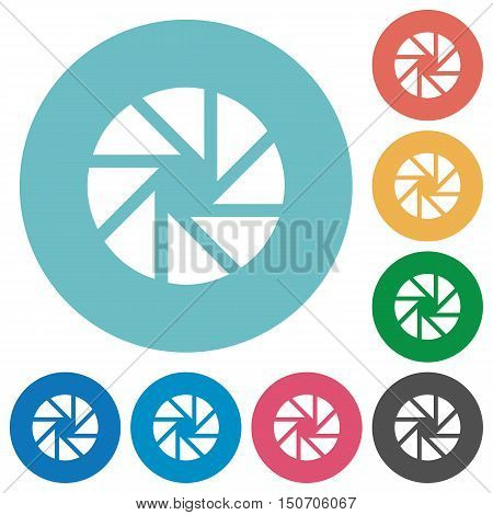 Flat aperture icon set on round color background.