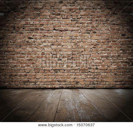 Jahrgang Interieur mit Ziegelmauer