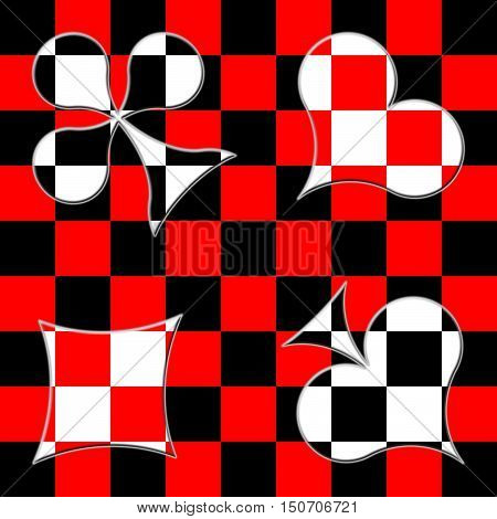 Card suits on the checkered black-and-red background