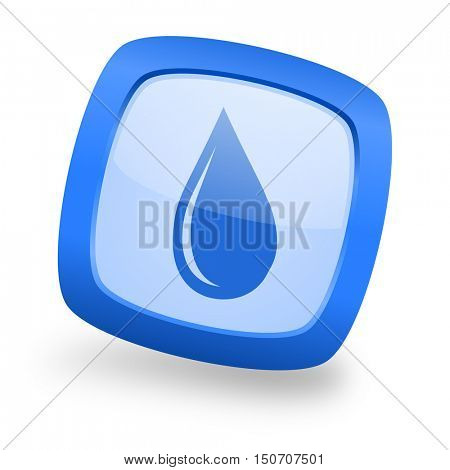 water drop blue glossy web design icon