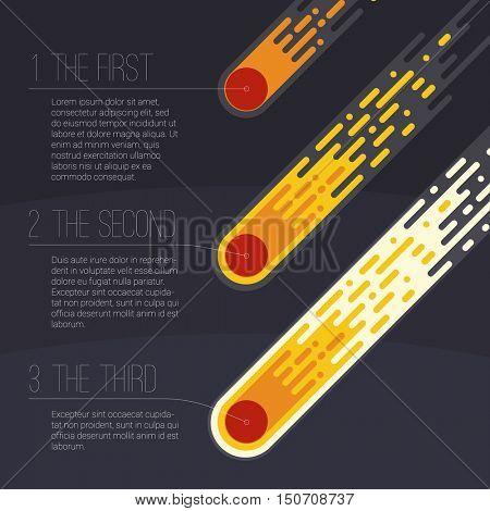 Flame meteorite. Flat design cartoon vector template.