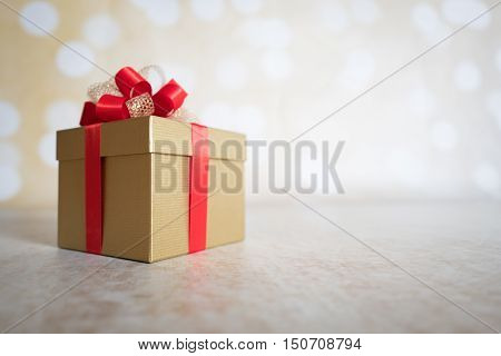 Christmas Present on Christmas Background with Ribbons