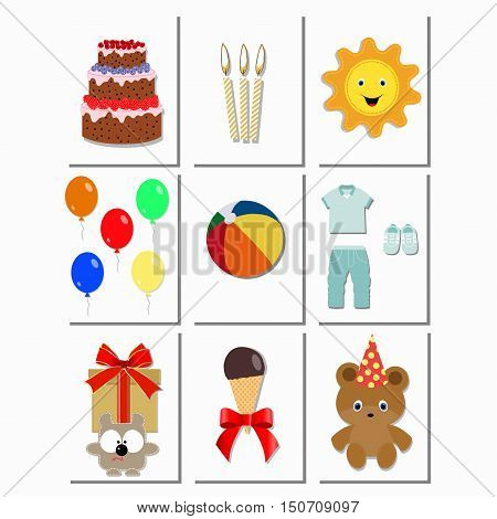 Baby cards with birthday elements for boys. happy birthday, holiday, baby shower and arrival celebration greeting and invitation card. template greeting card or invitation. Baby vector illustration.