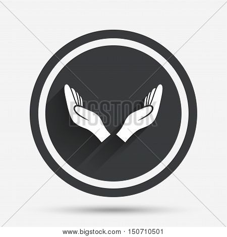 Pray hands sign icon. Religion priest faith symbol. Circle flat button with shadow and border. Vector