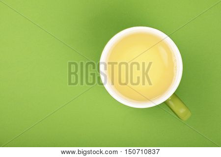 One Full Big Cup Of Green Oolong Tea With Saucer