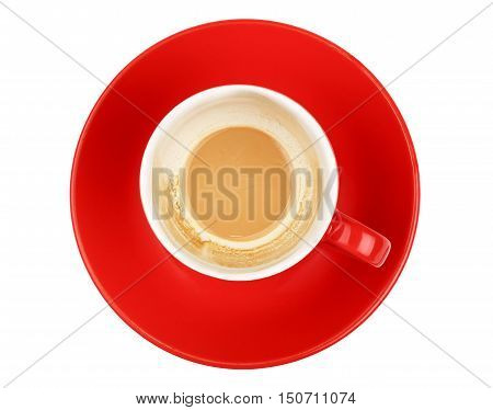 Empty Latte Cappuccino Coffee Red Cup Over White