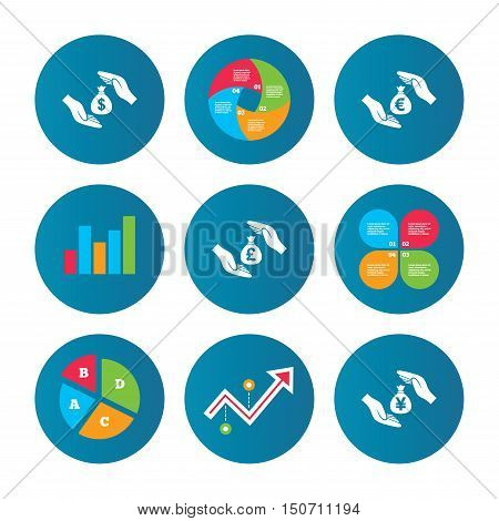Business pie chart. Growth curve. Presentation buttons. Hands insurance icons. Money bag savings insurance symbols. Hands protect cash. Currency in dollars, yen, pounds and euro signs. Data analysis