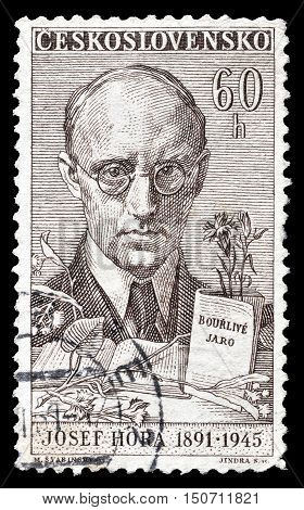 CZECHOSLOVAKIA - CIRCA 1961 : Cancelled postage stamp printed by Czechoslovakia, that shows Josef Hora.