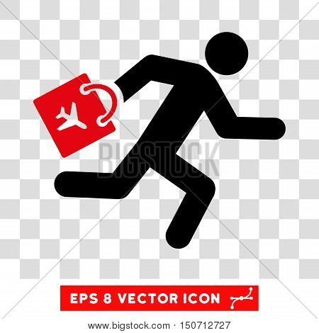 Vector Late Airport Passenger EPS vector icon. Illustration style is flat iconic bicolor intensive red and black symbol on a transparent background.