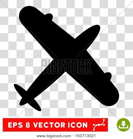 Vector Aeroplane EPS vector pictograph. Illustration style is flat iconic black symbol on a transparent background.
