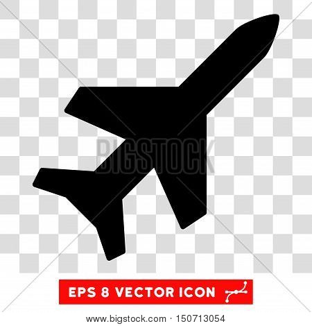 Vector Aeroplane EPS vector icon. Illustration style is flat iconic black symbol on a transparent background.