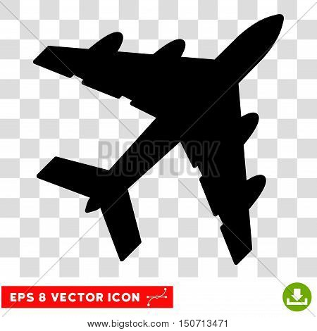 Vector Bomber EPS vector pictograph. Illustration style is flat iconic black symbol on a transparent background.