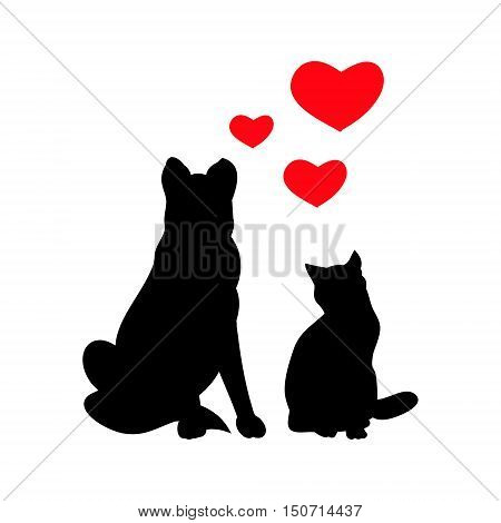 Silhouettes of a cat and dog on a white background. Favorite Pets. Vector illustration