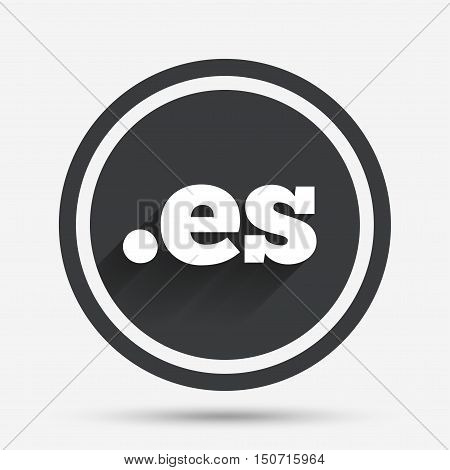Domain ES sign icon. Top-level internet domain symbol. Circle flat button with shadow and border. Vector