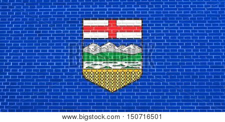 Albertan provincial official flag, symbol. Canada banner and background. Canadian AB patriotic element. Flag of the Canadian province of Alberta on brick wall texture background, 3d illustration