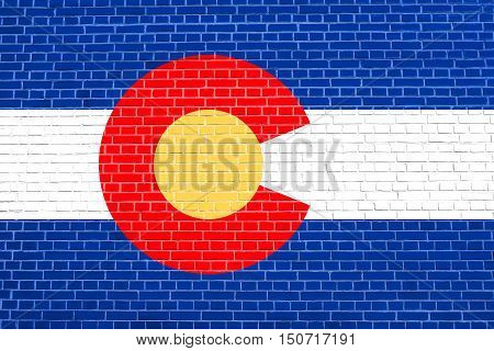 Colorado official flag symbol. American patriotic element. USA banner. United States of America background. Flag of the US state of Colorado on brick wall texture background, 3d illustration