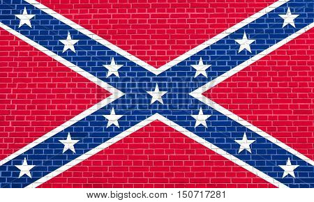 National flag of the Confederate States of America. Known as Confederate Battle Rebel Southern Cross Dixie flag. Patriotic symbol banner. Historical flag of CSA on brick wall texture background, 3d illustration
