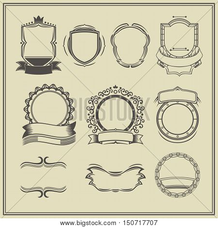 Collection of frames and labels. Retro, vintage, tattoo. Vector design elements.