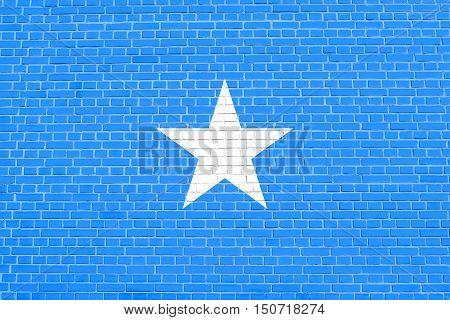 Somali national official flag. African patriotic symbol banner element background. Flag of Somalia on brick wall texture background, 3d illustration