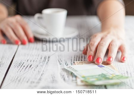 Woman Ready To Pay Empty Finished Cappuccino Coffee Cup