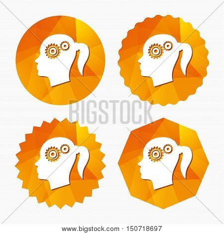Head with gears sign icon. Female woman human head think symbol. Triangular low poly buttons with flat icon. Vector
