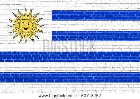 Uruguayan national official flag. Patriotic symbol banner element background. Flag of Uruguay on brick wall texture background, 3d illustration