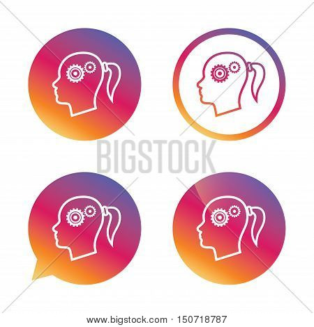 Head with gears sign icon. Female woman human head think symbol. Gradient buttons with flat icon. Speech bubble sign. Vector