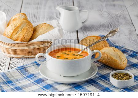 Fresh Carrot Soup In White Bowl, Dietary Vegetable Soup, Rustic Style