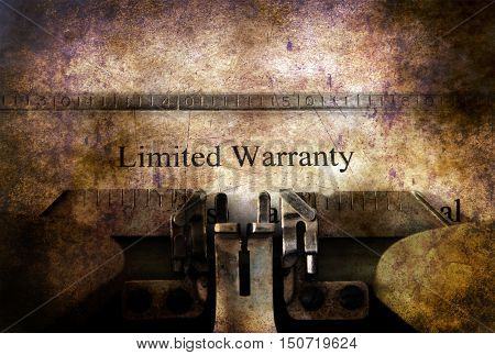 Limited Warranty Form On Vintage Typewriter