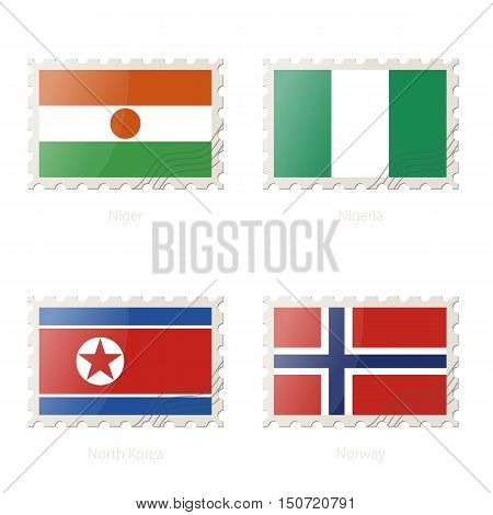 Postage Stamp With The Image Of Niger, Nigeria, North Korea, Norway Flag.