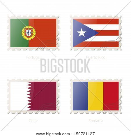 Postage Stamp With The Image Of Portugal, Puerto Rico, Qatar, Romania Flag.