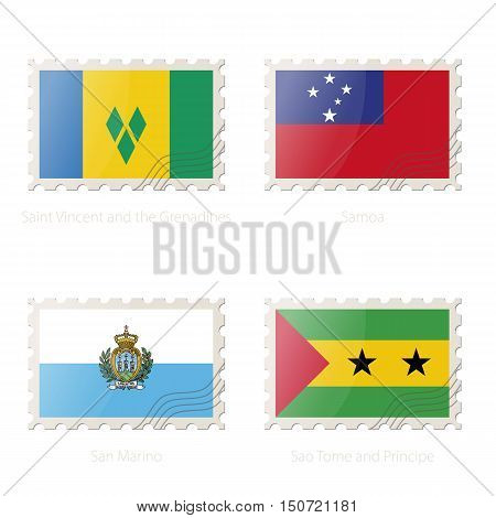 Postage Stamp With The Image Of Saint Vincent And The Grenadines, Samoa, San Marino, Sao Tome And Pr
