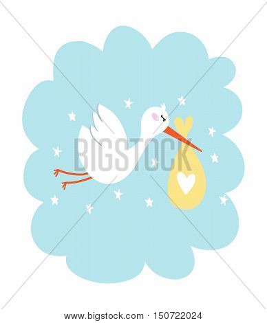 Baby announcement card stork with baby vector illustration. Celebration gift announcement animal stork with baby. Greeting card congratulations cartoon stork with baby newborn love design.