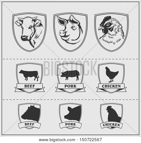 Heads and silhouettes of farm animals in frames. Cow, pig and chicken. Vector monochrome design.
