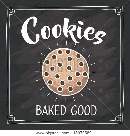 Coockie icon. Bakery food daily and fresh theme. Frame blackboard and grunge background. Vector illustration