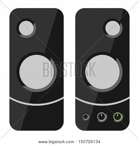 Computer speakers isolated on white background. Multimedia concept vector electrical computer speaker. Acoustic power electronics computer speaker music equipment bass entertainment loudspeaker.