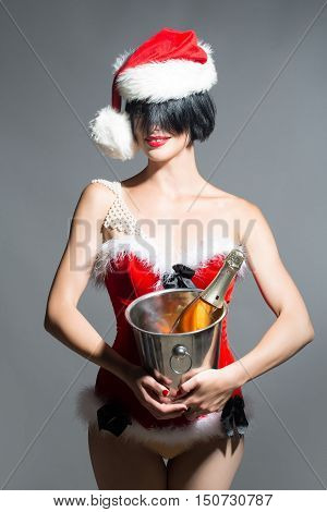 Christmas Pretty Sexy Girl With Bottle In Pail