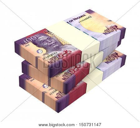 Nigerian naira bills isolated on white background. 3D illustration.