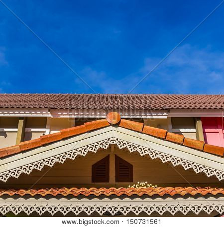 gable roof of a house in front of the blue sky