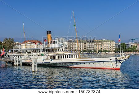 Geneva, Switzerland - 24 September, 2016: MS Savoie at pier on Lake Geneva. Lake Geneva is a lake on the north side of the Alps, shared between Switzerland and France.