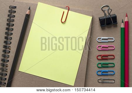 blank paper pencil and book on table / for write text or artwork