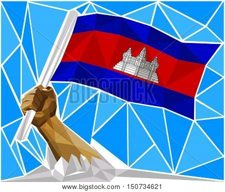 Patriotic Powerful Man Arm Raising The National Flag Of Cambodia